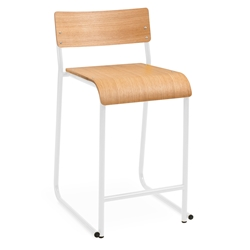 Gus Modern Church Counter Stool - White / Natural Oak