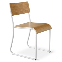 Church Contemporary Chair by Gus Modern in White and Oak