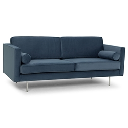 Claude Dusty Blue Fabric Upholstery + Brushed Stainless Steel Legs Modern Sofa