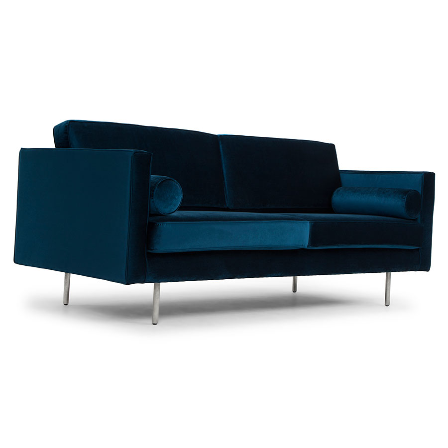 Claude Midnight Blue Fabric Upholstery + Brushed Stainless Steel Modern Sofa