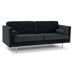 Claude Shadow Gray Fabric + Stainless Steel Legs Modern Sofa