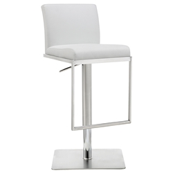 Clay Modern White Adjustable Stool by Whiteline