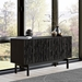 "BDi Code 60"" Modern Media Console in Ebonized Ash Hardwood with Black Powder Coated Steel Legs - Room Shot"