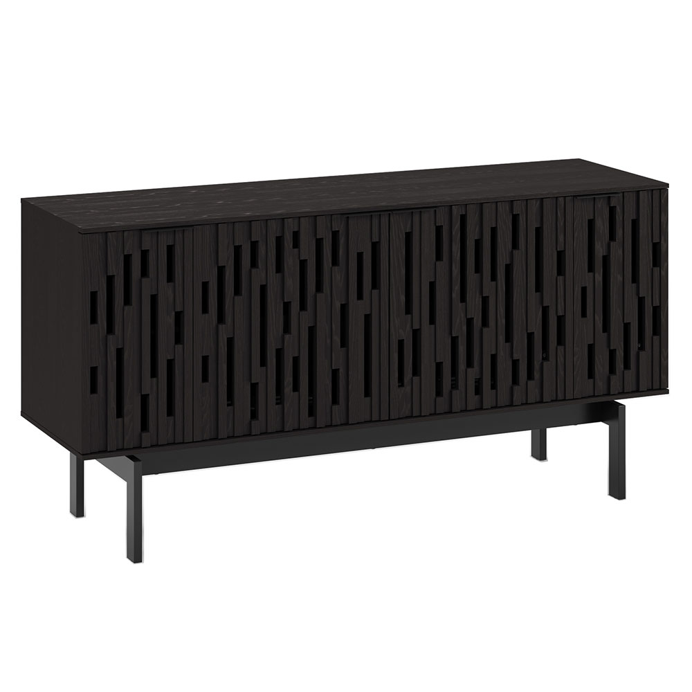 "BDi Code 60"" Modern Media Console in Ebonized Ash Hardwood with Black Powder Coated Steel Legs"