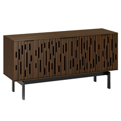"BDi Code 60"" Modern Media Console in Toasted Walnut Hardwood with Black Powder Coated Steel Legs"