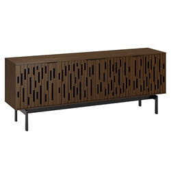 "BDi Code 80"" Modern Media Console in Toasted Walnut Hardwood with Black Powder Coated Steel Legs"