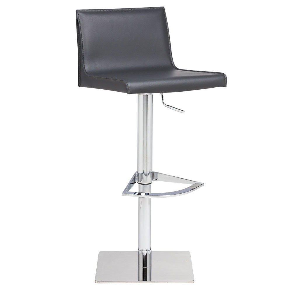Colter Dark Gray Leather + Polished Steel Modern Adjustable Height Stool