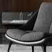 Columbus Dark Shadow Fabric + Black Leather and Wood Modern Lounge Chair by Modloft Black