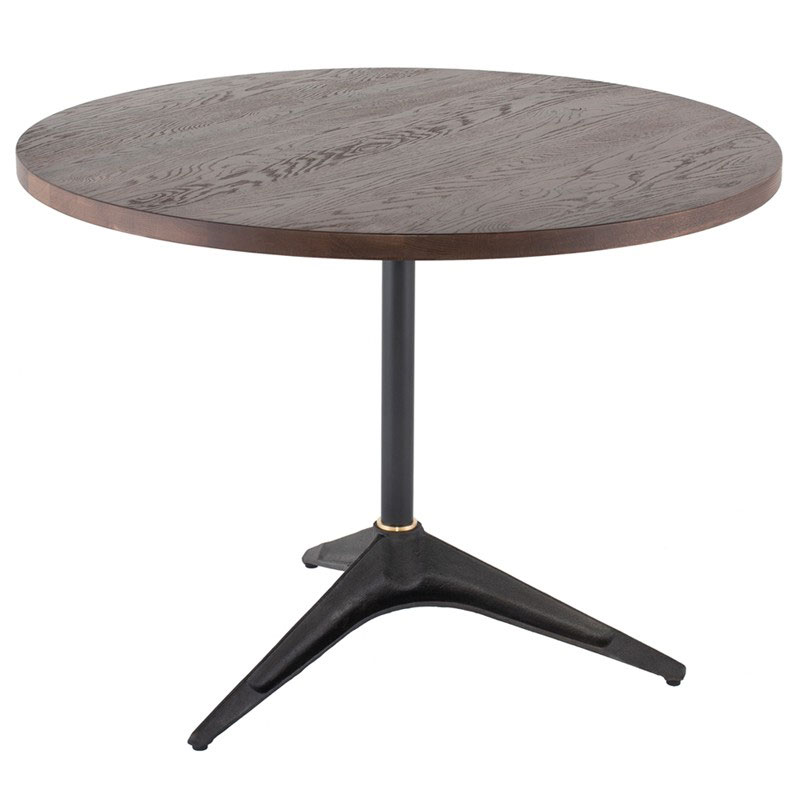 "Compass 40"" Circle Solid Smoked Oak Wood + Black Cast Iron Modern Bistro Dining Table"