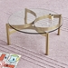 Gus* Modern Compass Coffee Table in Champagne Gold + Clear Glass