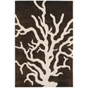Coral 3'x5' Rug in Brown and Cream