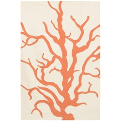 Coral 3'x5' Rug in Orange and Cream