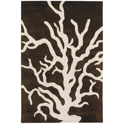Coral 8x10 Rug in Brown and Cream