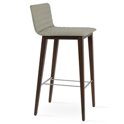 Corona Modern Bar Stool Light Grey Leatherette + Walnut