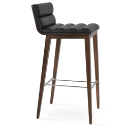 Corona Comfort Modern Bar Stool Black Leatherette + Walnut