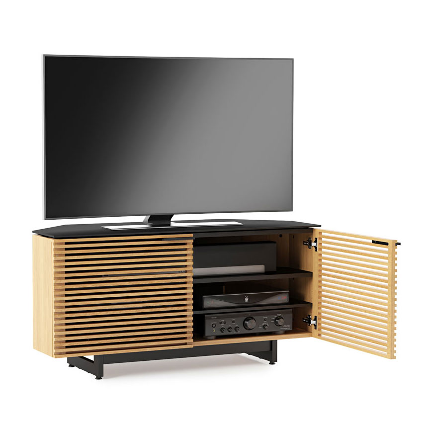 Corridor Oak Corner Contemporary Tv Stand Dressed Open