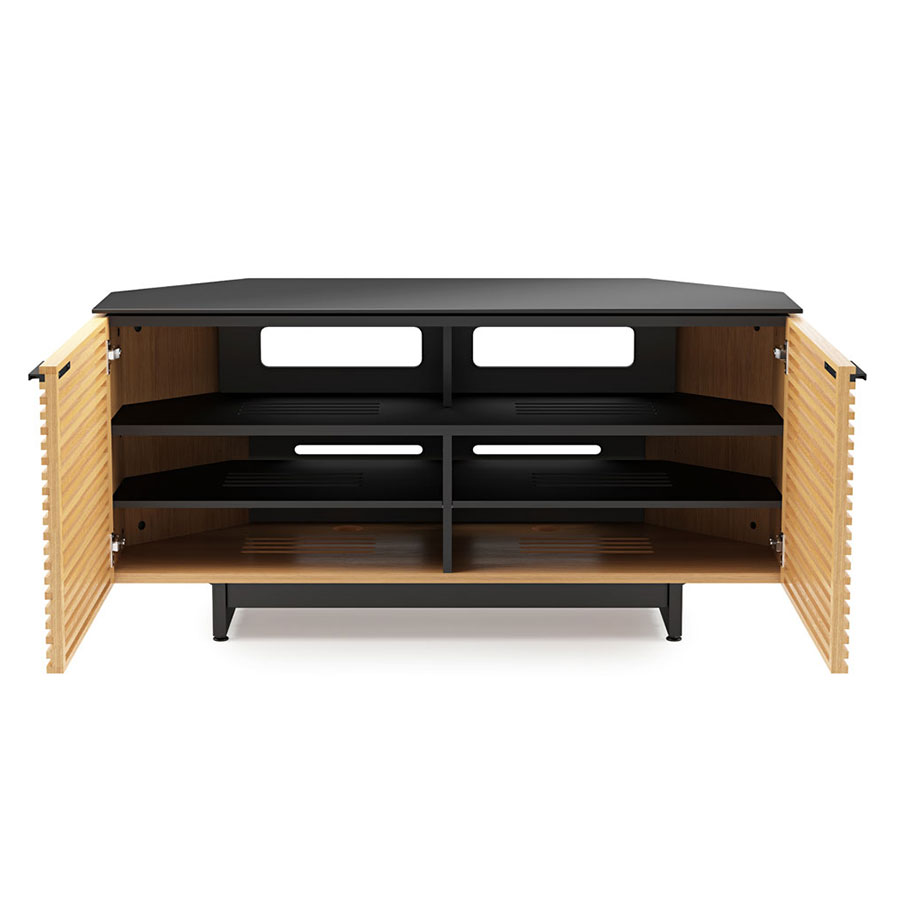 Corridor Oak Modern Corner Tv Stand By Bdi Eurway # Contemporary Tv Stands