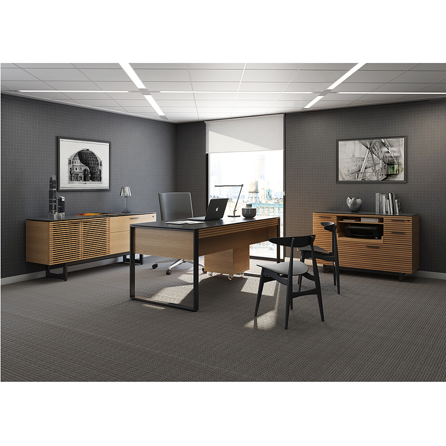 Modern Office Desk: BDI Corridor Oak Modern Desk