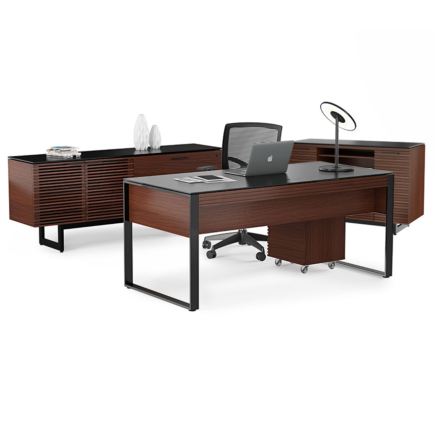 Corridor Modern Executive Office Set in Chocolate Stained Walnut