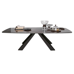 Pezzan Cosmo Modern Dining Table - Emperador + Anthracite