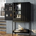 BDI Cosmo Ebonized Ash Modern Bar Cabinet - Room Setting, Half Open, Dressed