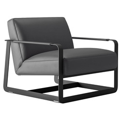 Crosby Graphite Leather + Black Steel Modern Lounge Chair by Modloft Black