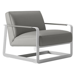 Crosby Warm Gray Leather + White Steel Modern Lounge Chair by Modloft Black
