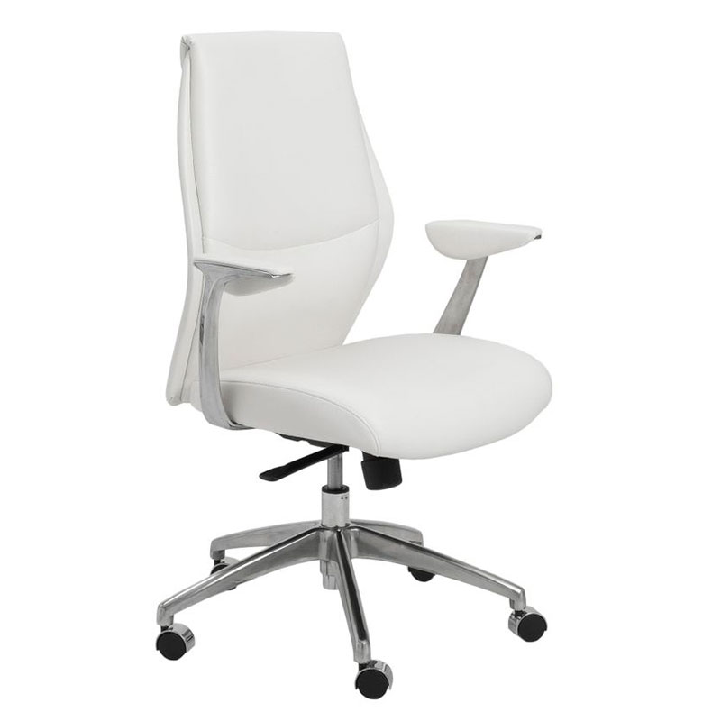 Crosby Modern White Low Back Office Chair by Euro Style