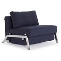 Cubed Modern Twin Sleeper Chair in Blue + Chrome by Innovation