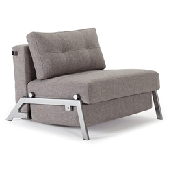 Cubed Modern Twin Sleeper Chair in Grey + Chrome by Innovation