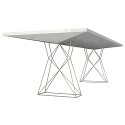"Modloft Curzon 102"" Glossy White Modern Dining Table with Truss Base"