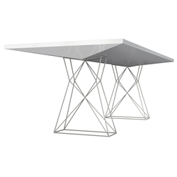 Modloft Curzon Glossy White Modern Dining Table with Truss Base