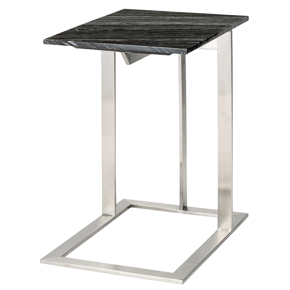 Dell Brushed Steel + Black Marble W/ White Veins Rectangular Modern End Table