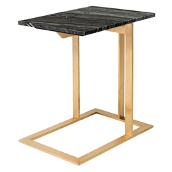 Dalhart Gold Steel + Black Marble W/ White Veins Rectangular Modern End Table