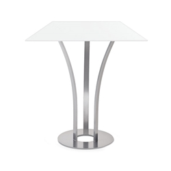 Dalia White Glass + Metal Modern Counter Height Table by Amisco