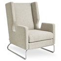 Danforth Modern Lounge Chair in Leaside Driftwood Fabric Upholstery with Stainless Steel Base
