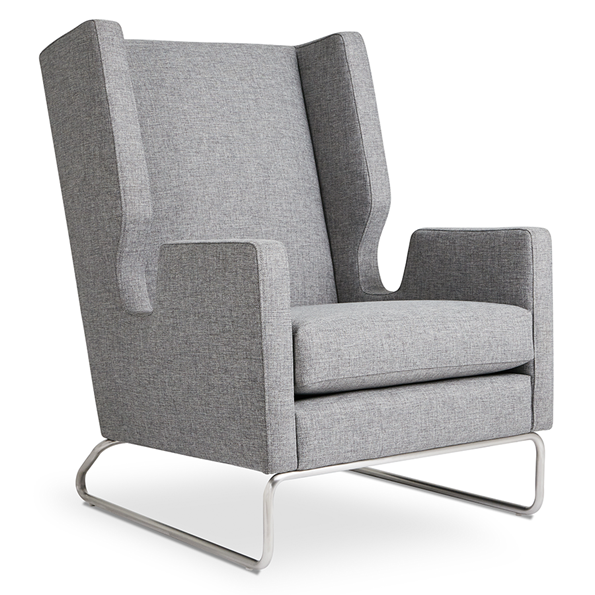Gus* Modern Danforth Modern Lounge Chair in Parliament Stone
