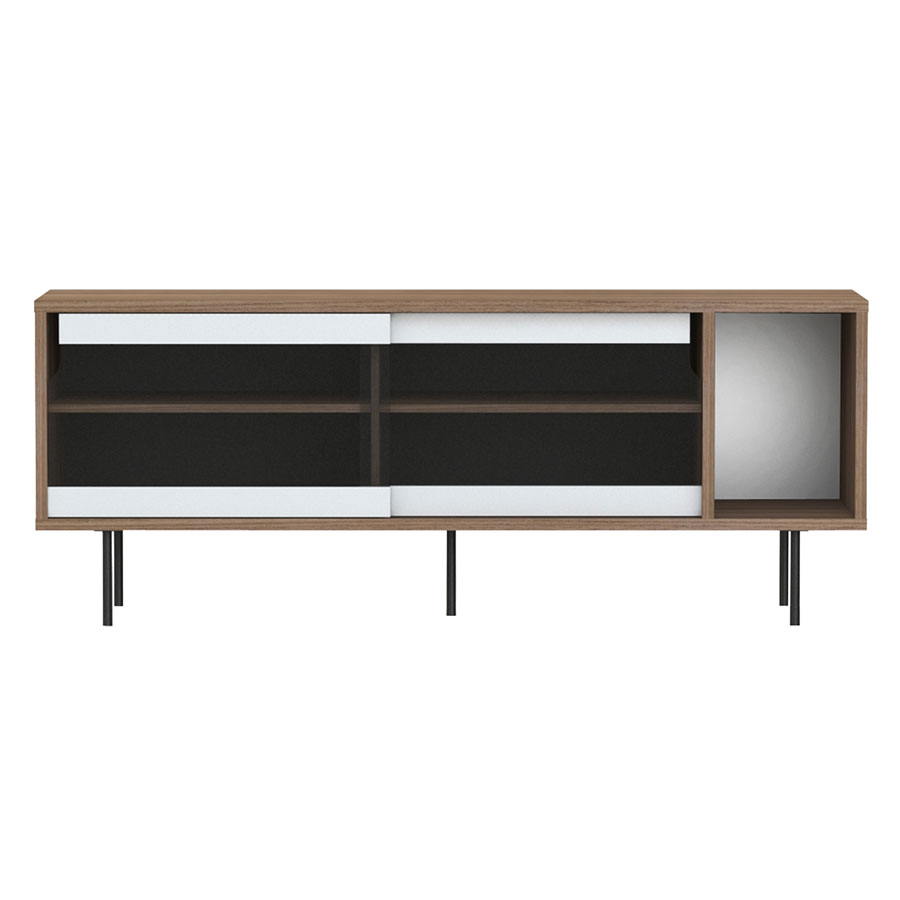 Dann Walnut Glass + Metal Modern Sideboard By TemaHome