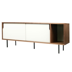 Dann Walnut + White + Black Contemporary Sideboard