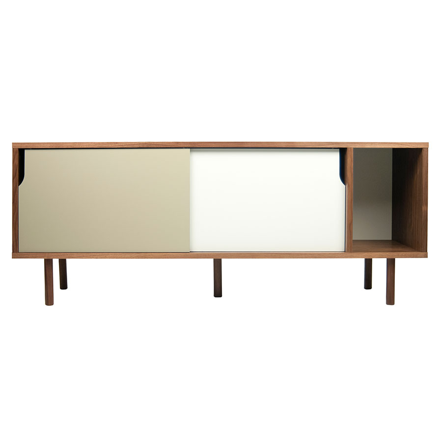 Dann Walnut + White + Gray Contemporary Sideboard
