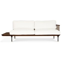 Distrikt Smoked Oak + Off White Fabric Modern Sofa