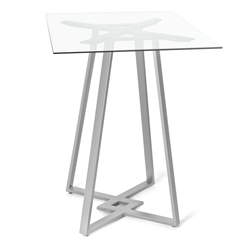 Dirk Clear Glass + Metal Modern Bar Height Table by Amisco