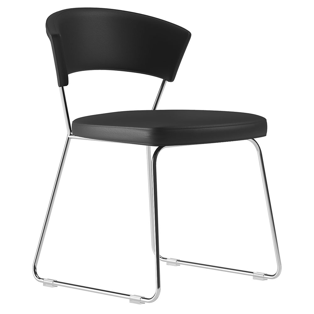 Modloft Delancey Modern Dining Chair in Black Eco Leather with Chrome