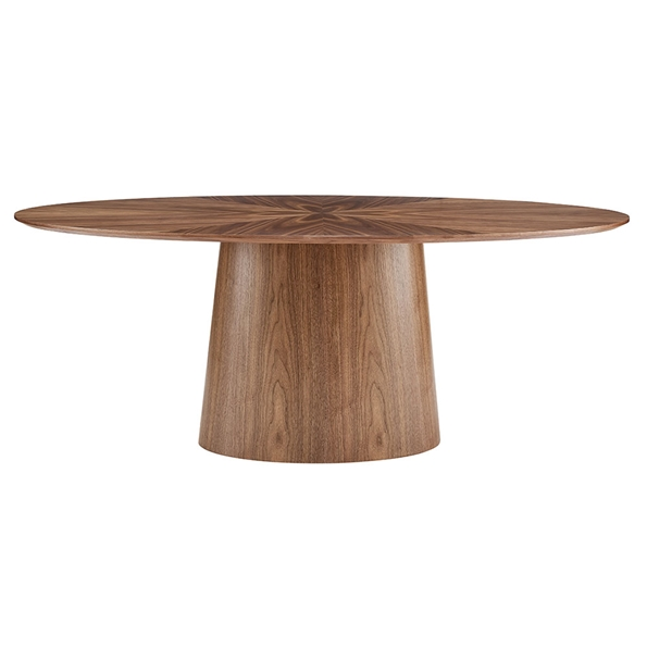 Deodat Modern Walnut Oval Dining Table