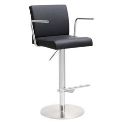 Detleff Black Adjustable Contemporary Stool