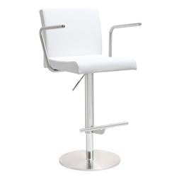 Detleff White Adjustable Contemporary Stool