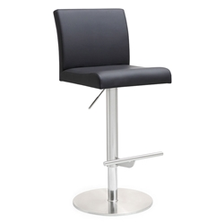Detleff Black Armless Adjustable Contemporary Stool