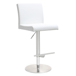 Detleff White Adjustable Armless Contemporary Stool