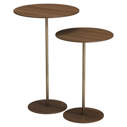 Dey Walnut + Polished Gold Steel Modern Nesting Side Tables by Modloft Black