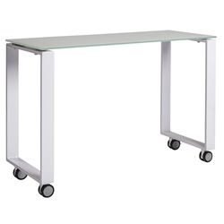 Didier Modern Glass + White Steel Return Desk